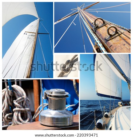 Collage of sailing boat stuff - winch, ropes, yacht in the sea,knot,sails,mast (i used my own photos for this collage) - stock photo