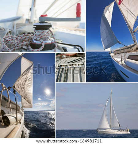 Collage of sailing boat stuff: winch with rope, yacht crop, sailboat in the sea  - stock photo