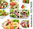 Collage of salads, including Nicoise, Greek, smoked salmon, prawn, chicken, and tomato. - stock photo