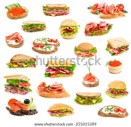 Collage of sandwiches isolated on a white background - stock photo