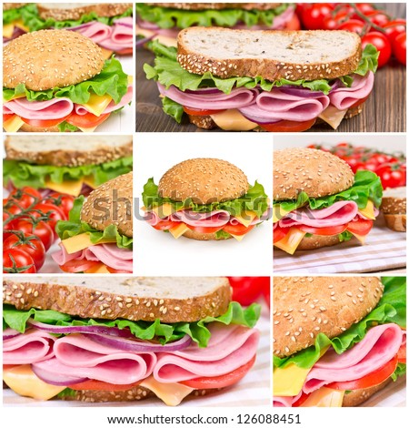 Collage of sandwiches with ham and vegetables - stock photo