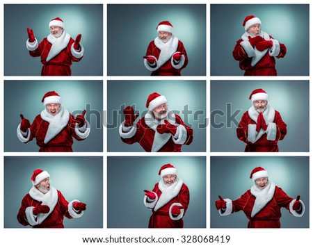 Collage of  Santa Claus different emotions. Christmas concept - stock photo