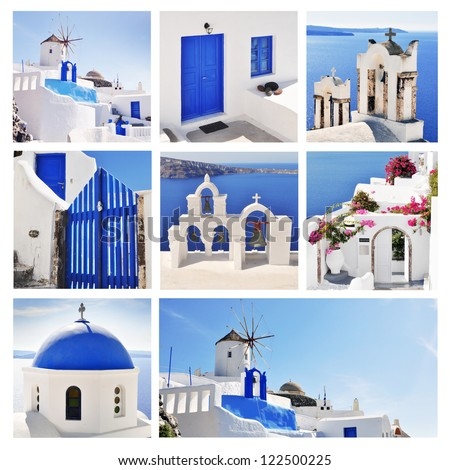Collage of Santorini (Greece) images - stock photo