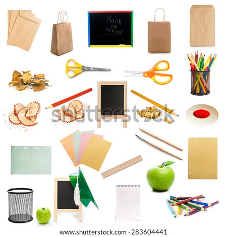 collage of school and office supplies isolated on white background - stock photo