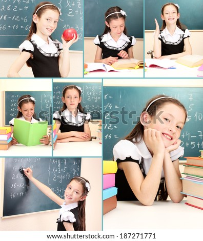 Collage of school girl close-up - stock photo