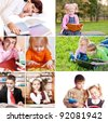 Collage of schoolchildren in studying process - stock photo