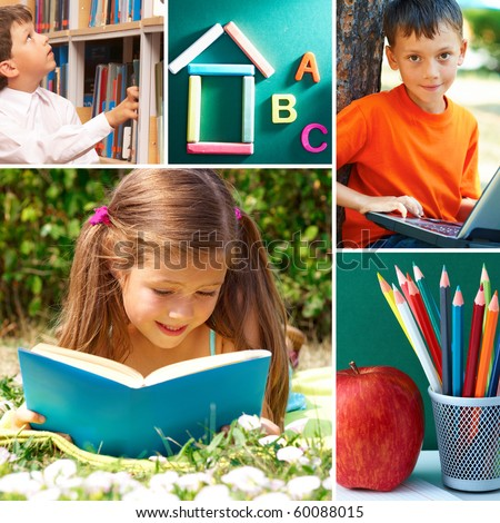 Collage of schoolchildren in studying process and education objects