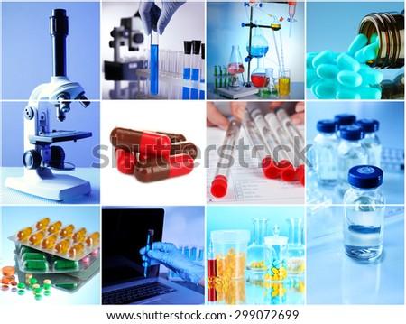 Collage of scientific elements in laboratory - stock photo