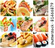 Collage of seafood images.  Includes calamari, smoked salmon, rainbow trout, prawns, atlantic salmon, swordfish, traditional fish and chips, and sushi. - stock photo