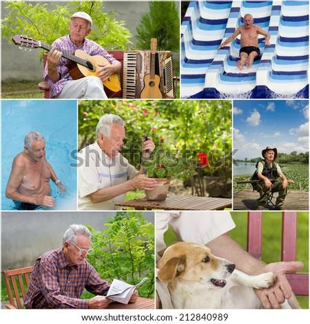 Collage of senior man activities in retirement - stock photo