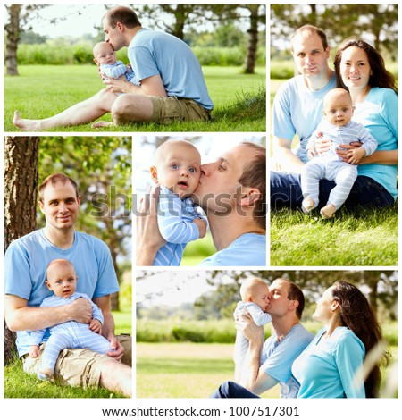 Collage of set photos: happy smiling family  with baby together at summer time in park