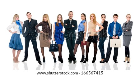 Collage of several business people in different poses. Successful young businessmen - stock photo