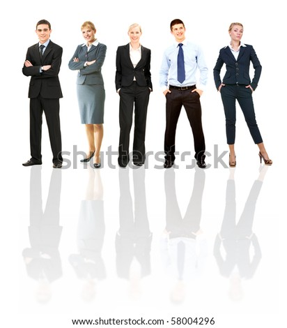 Collage of several business people posing before camera - stock photo