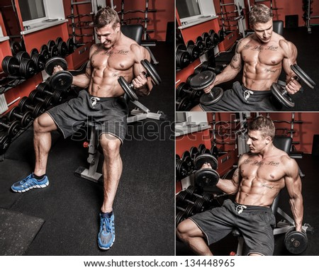Collage of several images of bodybuilder who is having hard workout - stock photo