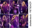 Collage of several photos. Beautiful girl posing in front of shining violet colored creative lighting background - stock photo