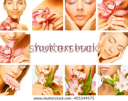 Collage of several photos for beauty and spa industry - stock photo