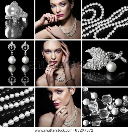 Collage of several photos for fashion and beauty industry - stock photo