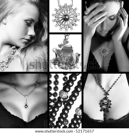 Collage of several photos for fashion industry - stock photo