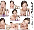 Collage of several photos for healthcare and beauty industry - stock photo