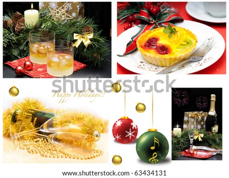 Collage of several photos for holiday theme - stock photo