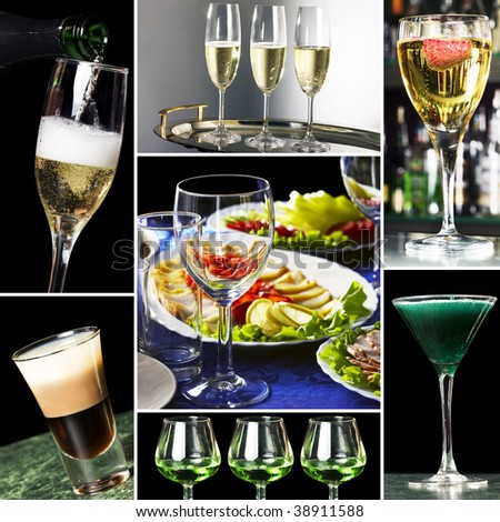 Collage of several photos for restaurant business - stock photo