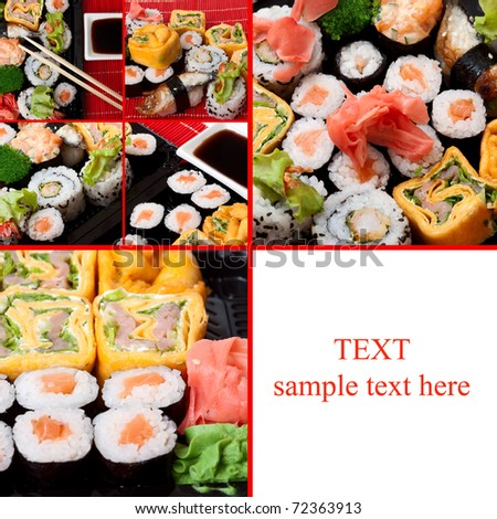 Collage of several photos japanese sushi - stock photo
