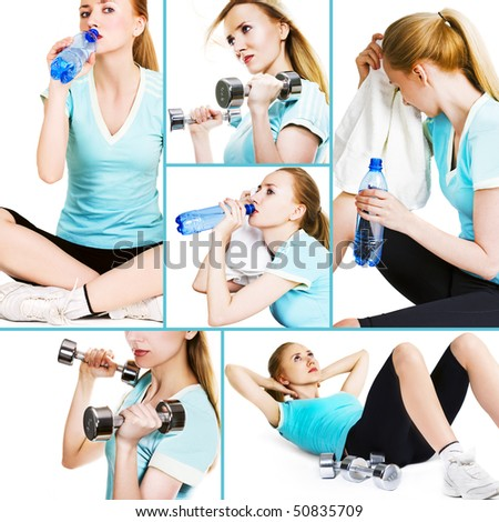 Collage of several pictures for sport and healthcare industry - stock photo