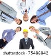 Collage of several professionals looking at camera - stock photo