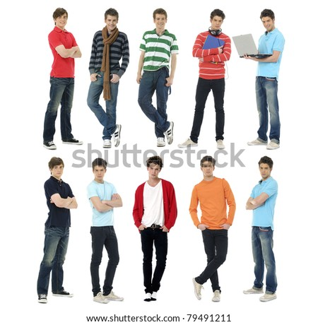 Collage of several stylish young standing in different poses - stock photo