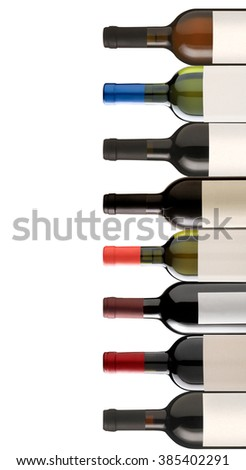 Collage of several wine bottles with space for your logo or text - stock photo