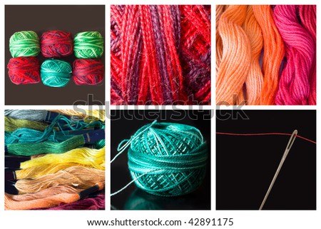 collage of sewing material - stock photo