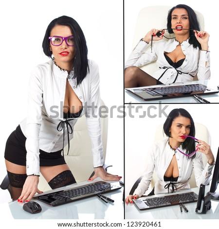 Collage of sexy secretary - stock photo