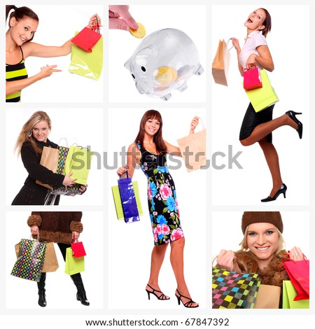 Collage of shopping young women, discount metaphor. - stock photo