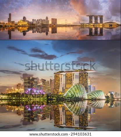 Collage of Singapore Skyline and view of skyscrapers on Marina Bay - stock photo