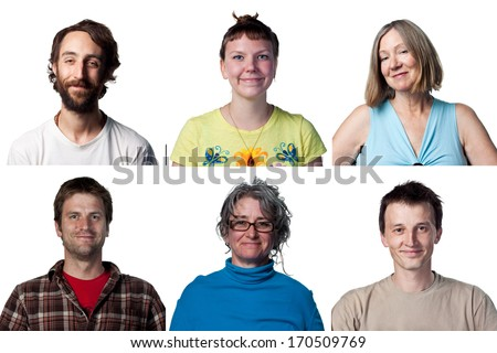 Collage of six different happy, smiling faces - stock photo