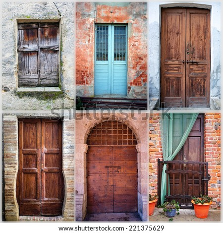 Collage of six old wooden doors. Color image