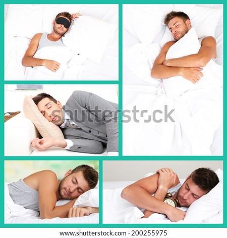 Collage of sleeping men - stock photo