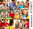 Collage of smart schoolchildren and teacher in classroom - stock photo