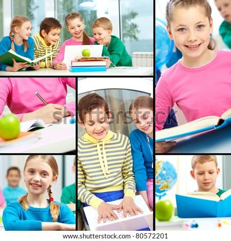 Collage of smart schoolgirls and schoolboys studying - stock photo