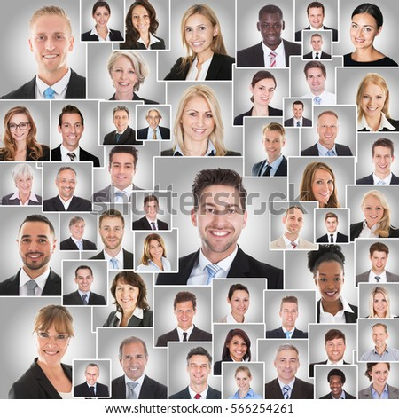 Collage Of Smiling Diverse Business Men And Women On Gray Background