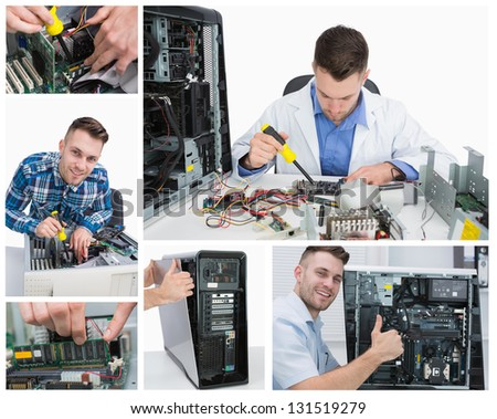 Collage of smiling handsome computer technician at work - stock photo