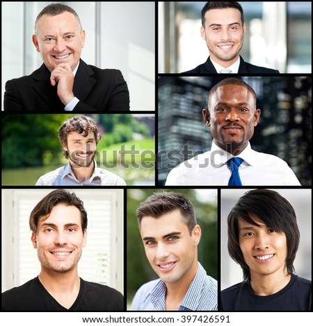 Collage of smiling men portraits