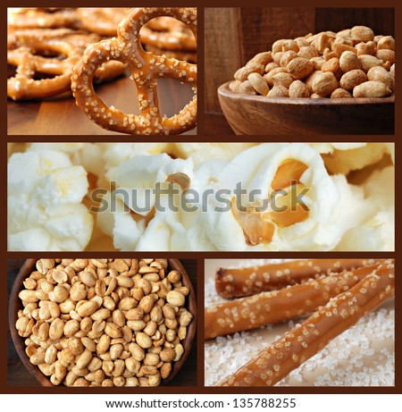 Collage of snack foods includes pretzels, roasted peanuts, and fresh popcorn. - stock photo