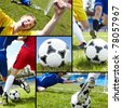 Collage of soccer ball on the field with footballers and their legs - stock photo