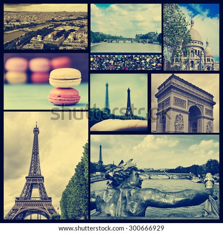 collage of some pictures of different landmarks in Paris, France such as the Eiffel Tower, the Basilica of the Sacred Heart, some bridges above the Seine River or the Arc de Triomphe, cross processed - stock photo