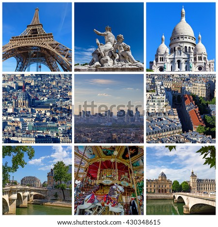 Collage of some pictures of different landmarks in Paris, France such as the Eiffel Tower, the Basilica of the Sacred Heart, some bridges above the Seine River and some other - stock photo