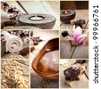 Collage of spa products. Treatment water, natural soaps, candles, bath salt, towels in beige brown setting. - stock photo