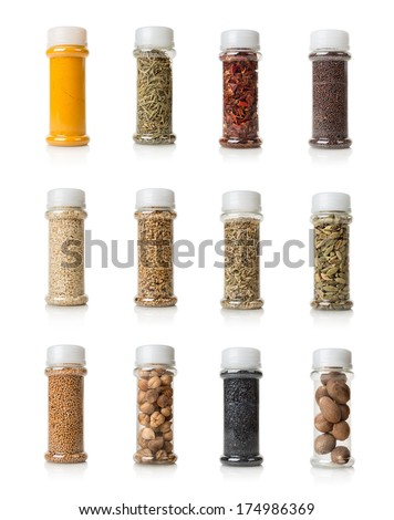 Collage of spices isolated on white background - stock photo