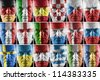 Collage of sport supporter faces painted into major European country national flag colors - stock photo