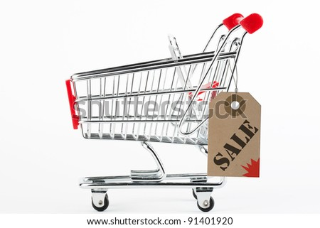 Collage of Steel Shoping Cart and Sale Price tag on the white background